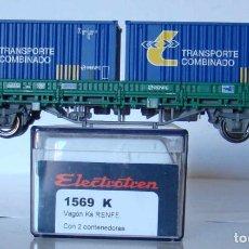 Trenes Escala: VAGON PLATAFORMA TIPO KS DE RENFE ESCALA H0 DE ELECTROTREN REF: 1569K. Lote 207154566