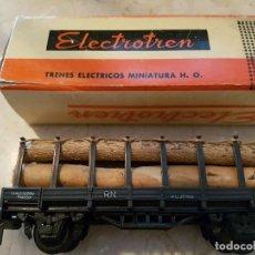 Trenes Escala: ELECTROTREN VAGÓN PLATAFORMA CON TRONCOS. Lote 169023424
