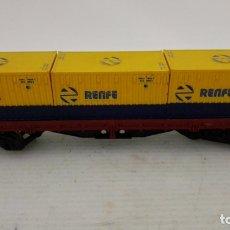 Trenes Escala: VAGON TRANSPORTE DE CONTENEDORES MERCANCIAS, ELECTROTREN, RENFE. Lote 173574310
