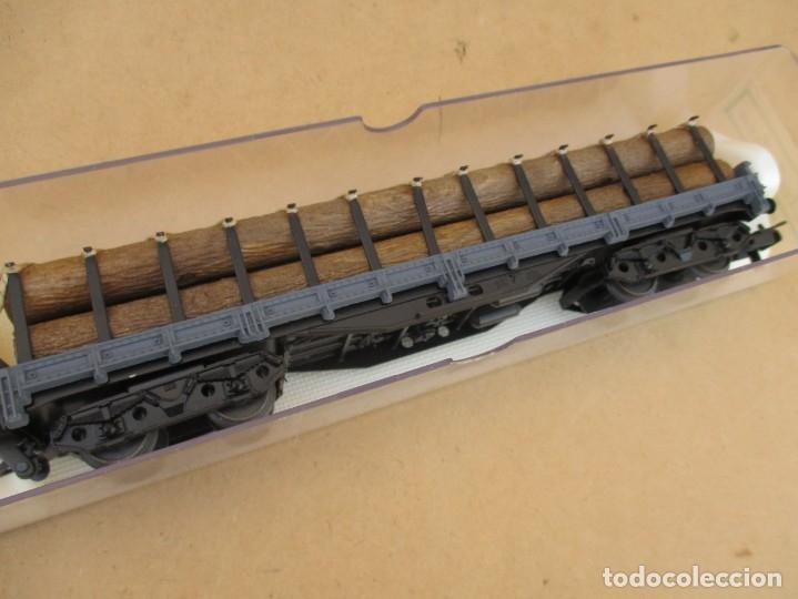 Trenes Escala: Electrotren vagon boguies plataforma CON CARGA DE troncos - Foto 2 - 179211906