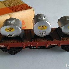 Trenes Escala: ELECTROTREN H0 VAGÓN SEMAT CON CISTERNAS, EN CAJA. BUEN ESTADO. Lote 180273716