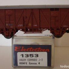 Trenes Escala: ELECTROTREN VAGON CERRADO RENFE ROJO OXIDO J-3 REF 1353 ESCALA H0. Lote 263570230