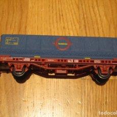 Trenes Escala: VAGON PLATAFORMA CONTENEDOR TRANSFESA RENFE ELECTROTREN 1441 ESCALA H0. Lote 182726801