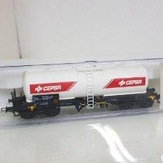 Trenes Escala: ELECTROTREN 5818 K RENFE VAGÓN CISTERNA CEPSA DE 16 CM ESCALA H0 CORRIENTE CONTINUA EN BLANCO. Lote 182982222