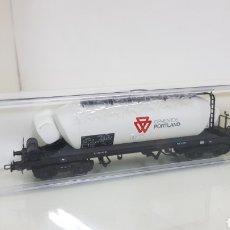 Trenes Escala: ELECTROTREN 5416 VAGÓN TOLVA RENFE CEMENTOS PORTLAND ESCALA H0 CORRIENTE CONTINUA DE 19 CM EN BLANCO. Lote 182982765