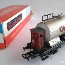 Trenes Escala: ELECTROTREN H0 VAGÓN CISTERNA CAMPSA CON GARITA, NUEVO EN CAJA. Lote 183527636
