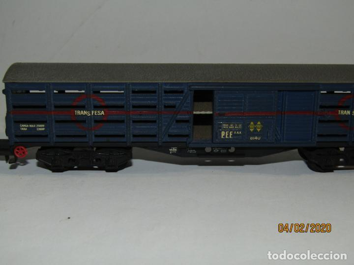 Trenes Escala: Antiguo Vagón Jaula Transporte de Ganado 4 Ejes TRANSFESA en Escala *H0* de ELECTROTREN - Foto 2 - 192964090