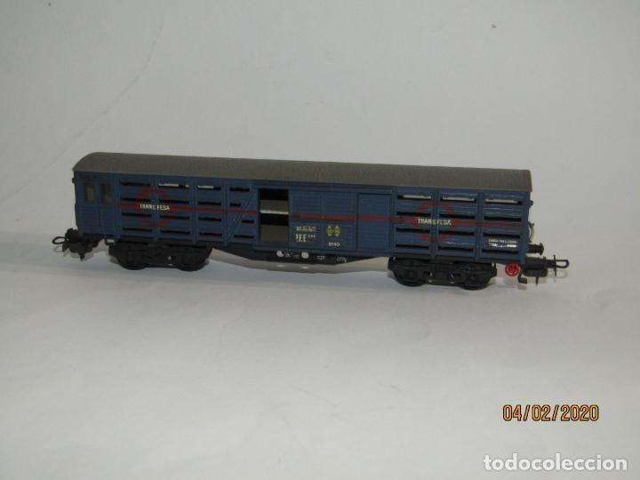 Trenes Escala: Antiguo Vagón Jaula Transporte de Ganado 4 Ejes TRANSFESA en Escala *H0* de ELECTROTREN - Foto 5 - 192964090