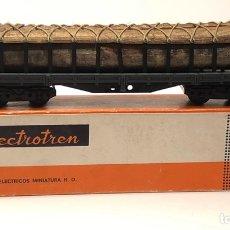 Trenes Escala: ELECTROTREN H0 5124 - PLATAFORMA 4 EJES CON TRONCOS DE MADERA RENFE. Lote 201150152