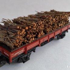 Comboios Escala: ELECTROTREN H0 VAGÓN CARGA CON LEÑA MADERA VÁLIDO EN IBERTREN,ROCO,MARKLIN, ETC. Lote 209814992