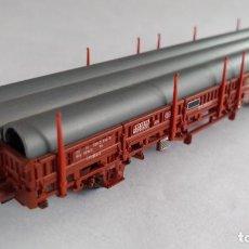 Comboios Escala: ELECTROTREN H0 VAGÓN CARGA TELERO CON TUBOS VÁLIDO EN IBERTREN,ROCO,MARKLIN, ETC. Lote 209819375