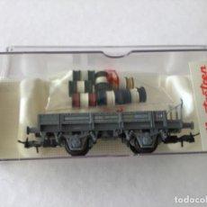 Trenes Escala: ELECTROTREN H0. VAGÓN PLATAFORMA BIDONES. REF. 1944. DE VITRINA, SIN USO. ÚNICO.. Lote 210485315