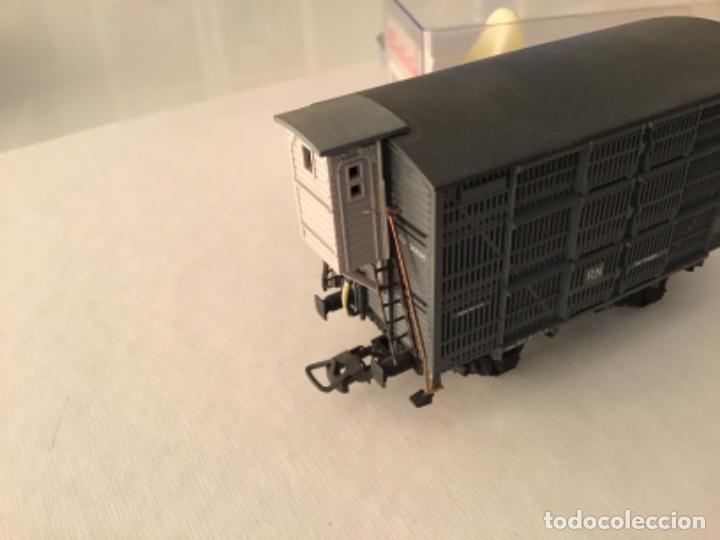 Trenes Escala: H0 Electrotren Vagón jaula de ganado con garita. De vitrina. Único. - Foto 3 - 210678510