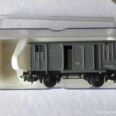 Trenes Escala: ELECTROTREN H0. VAGÓN CERRADO DE MERCANCÍAS DE RENFE GRIS. DE VITRINA. Lote 210822910