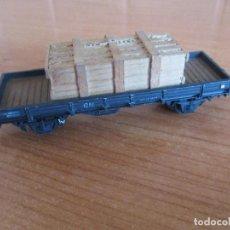 Trenes Escala: ELECTROTREN: VAGON MERCANCIAS CON CAJA DE MADERA DE TRANSPORTE CRISTAL. Lote 211574589