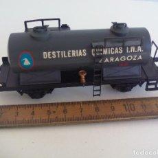 Trenes Escala: VAGÓN CISTERNA ELECTROTREN H0 DESTILERÍAS QUÍMICA I.N.A. ZARAGOZA. Lote 211674969