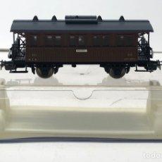 Trains Échelle: ELECTROTREN H0 1504 - VAGÓN MZA COSTA CORTO DOS EJES CON LUZ CORRIENTE CONTINUA MARRÓN. Lote 212745248