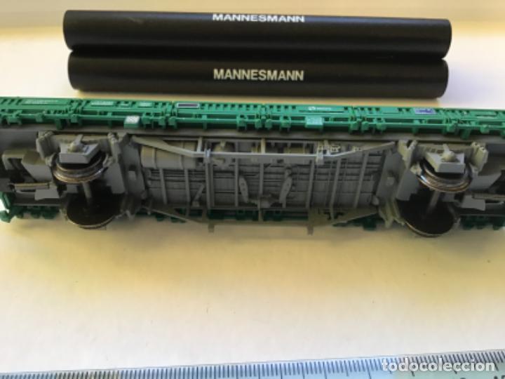 Trenes Escala: Electrotren H0. Vagón mercancías telero de tubos Mannesmann. Muy buen estado. - Foto 8 - 214859816