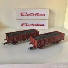 Trenes Escala: ELECTROTREN 2 VAGONES DE RENFE CARGADOS DE CARBÓN.. Lote 215576452