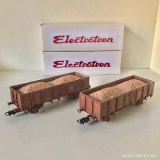 Trenes Escala: ELECTROTREN, DOS VAGONES DE RENFE TIPO ELOS CARGADOS CON POTASA. Lote 215672185