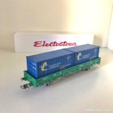 Trenes Escala: ELECTROTREN VAGÓN VERDE TIPO KS DE RENFE CON DOS CONTENEDORES. Lote 217351400