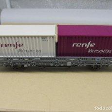 Trenes Escala: ELECTROTREN VAGÓN DE MERCANCIAS CON 2 CONTAINERS RENFE.. Lote 218133021