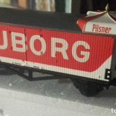 Trenes Escala: LOTE TRES VAGONES FERROCARRIL IGUALES HO HELJAN 46 MOROP KONGRESS DÄNEMARK. NUEVOS.. Lote 218543312