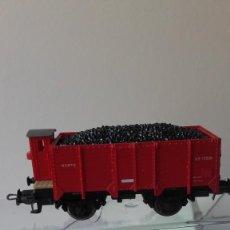 Trenes Escala: VAGON ELECTROTREN HO. REF. 1915 A. VAGON UNIFICADO DE BORDES TIPO X CON GARITA. CARGA CARBON.. Lote 219153638