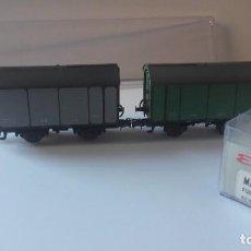 Trenes Escala: ELECTROTREN HO, REFRENCIA MATEY 003. PAR VAGONES CUBA. RENFE SERIE UK / PK. GRIS Y VERDE.. Lote 219163178