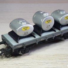 Trenes Escala: VAGÓN BORDE BAJO DEPÓSITOS SEMAT RENFE REF. 1000-5, ELECTROTREN SPAIN H0 1/87, ORIGINAL AÑOS 70.. Lote 220617790