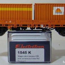 Trenes Escala: VAGON PORTA CONTENEDORES CON DOS CONTENEDORES COLAS RAIL REF: 1545 ESCALA H0. Lote 222505026