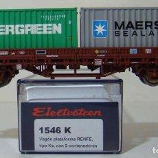 Trenes Escala: VAGON PLATAFORMA CON DOS CONTENEDORES RENFE REF: 1546 ESCALA H0. Lote 222505123