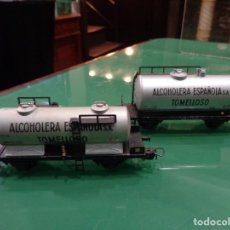 Trenes Escala: 2 VAGONES ELECTROTREN ALCOHOLERA ESPAÑOLA SA. TOMELLOSO. Lote 236606700