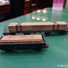 Trenes Escala: DOS VAGONES MADERA ELECTROTREN. Lote 237164540