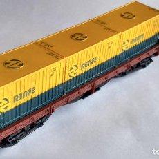 Trenes Escala: ELECTROTREN H0, VAGÓN BORDE BAJO CON CONTENEDORES RENFE.. Lote 243185825