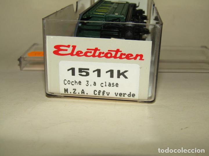 Trenes Escala: Antiguo Coche 3ª Clase MZA Cffv Verde Ref. 1511K en Escala *H0* 1/87 de ELECTROTREN - Foto 4 - 243214865