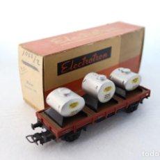 Trenes Escala: ELECTROTRÉN ANTIGUO VAGÓN PLATAFORMA 1004, CON 3 DEPÓSITOS SEMAT. BUEN ESTADO. H0. Lote 243782500