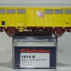 Trenes Escala: ELECTROTREN VAGON CERRADO PARA GANADO LA SNCF REF:1814 ESCALA H0. Lote 245083375