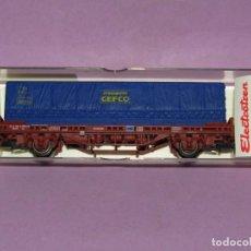 Trenes Escala: ANTIGUO VAGÓN CONTENEDOR TRANSPORTS GEFCO EN ESCALA *H0* REF. 1442K DE ELECTROTREN. Lote 246340210