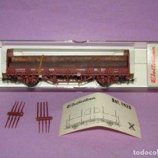 Trenes Escala: VAGÓN TRANSFESA KBS RENFE CON 5 TRONCOS EN ESCALA *H0* REF 1418K DE ELECTROTREN MADE IN SPAIN. Lote 251336700