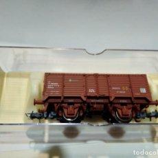 Trenes Escala: VAGON BORDE ALTO X RENFE ROJO, ELECTROTREN REF. 1963 CON CARGA DE CARBÓN. Lote 252230155