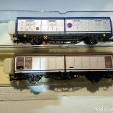 Trenes Escala: HO DOS VAGONES PUERTAS DESLIZANTES TRANSFESA DB Y DSB. Lote 252233250