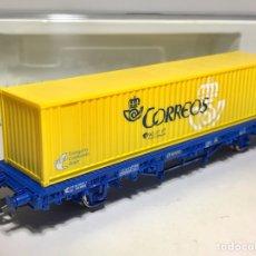 Trenes Escala: ELECTROTREN 1568 K VAGÓN PLATAFORMA RENFE MC1 CON CONTENEDOR CORREOS. Lote 253242765