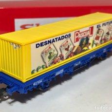 Trenes Escala: ELECTROTREN VAGÓN PLATAFORMA RENFE MC1 CON CONTENEDOR PASCUAL. Lote 253260475
