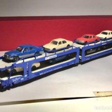 Trenes Escala: ELECTROTREN 6010 VAGON PORTAAUTOS TRANSFESA + 8 COCHES FLEISCHMANN. Lote 257311495