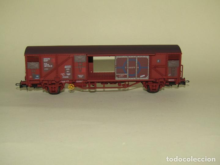 Trenes Escala: Antiguo Vagón Cerrado Gbs TRANSFESA Rojo Óxido en Escala *H0* Ref. 1460K de ELECTROTREN - Foto 4 - 257521740