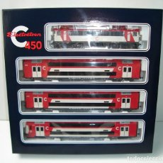 Trenes Escala: TREN DE CERCANIAS DOBLE PISO LOCOMOTORA 269 ELECTROTREN H0 REF 3450 A ESTRENAR. Lote 266723978