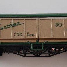Trenes Escala: ANTIGUO VAGON DE TREN ELECTROTREN MERCANCÍAS GONZALEZ 30 ANIVERSARIO 1957,1987 GANADO. Lote 270091953