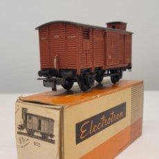 Trenes Escala: ELECTROTREN H0 855- VAGÓN CERRADO ANTIGUO CON GARITA 2 PUERTAS ROJO RENFE. Lote 270207323