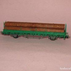 Trenes Escala: VAGÓN TELEROS CON TRONCOS EN ESCALA *H0* DE ELECTROTREN. Lote 271633933